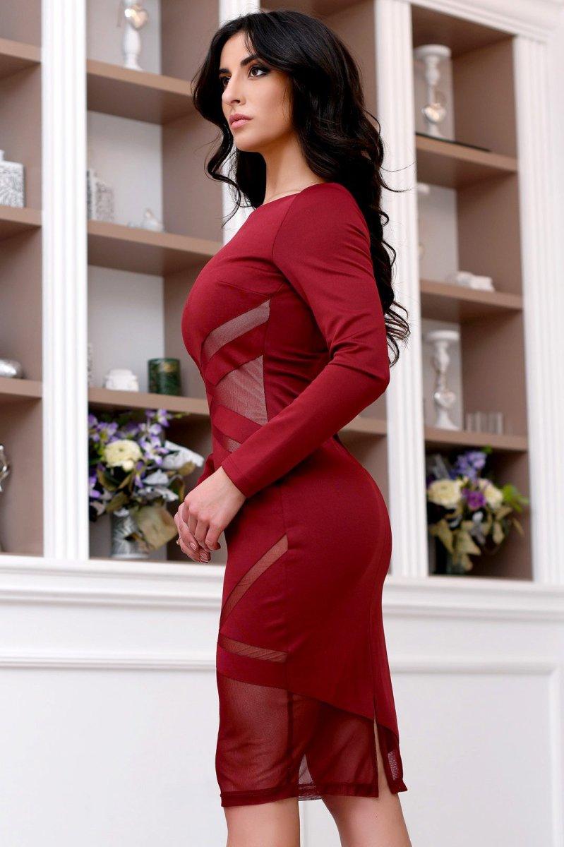 Платье приталенного силуэта KP-10111-16 марсала