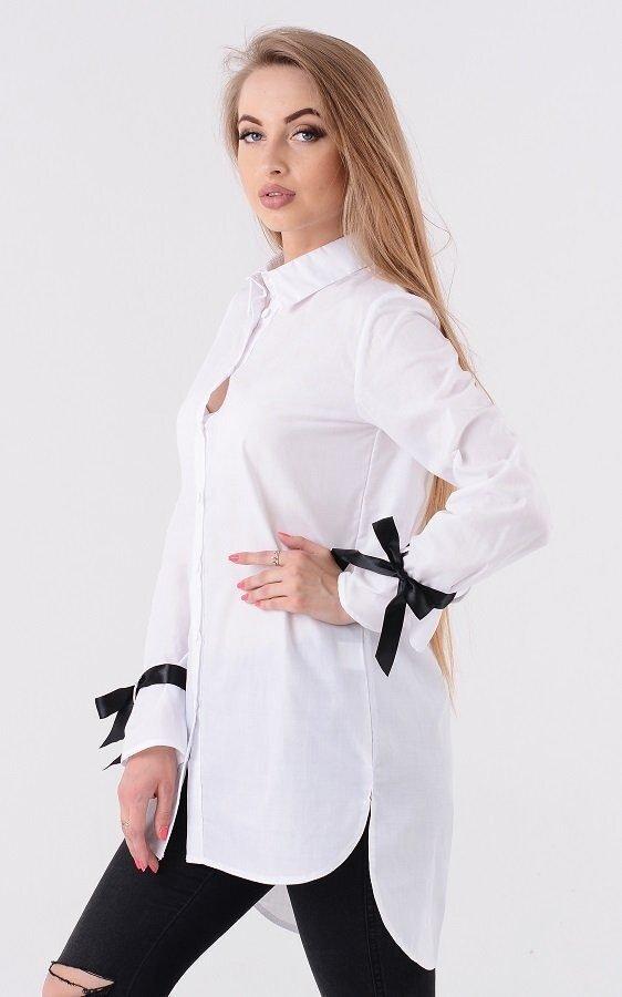 Длинная рубашка ленты белая