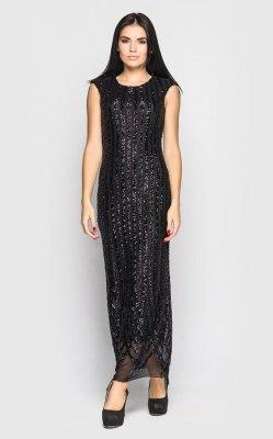 Длинное платье с паетками (черное)
