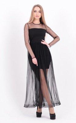 Длинное платье-сетка чёрное