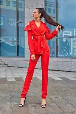 Брючный костюм Стефани красный