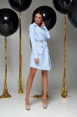 Короткое платье-пиджак Алекса без ремня голубое