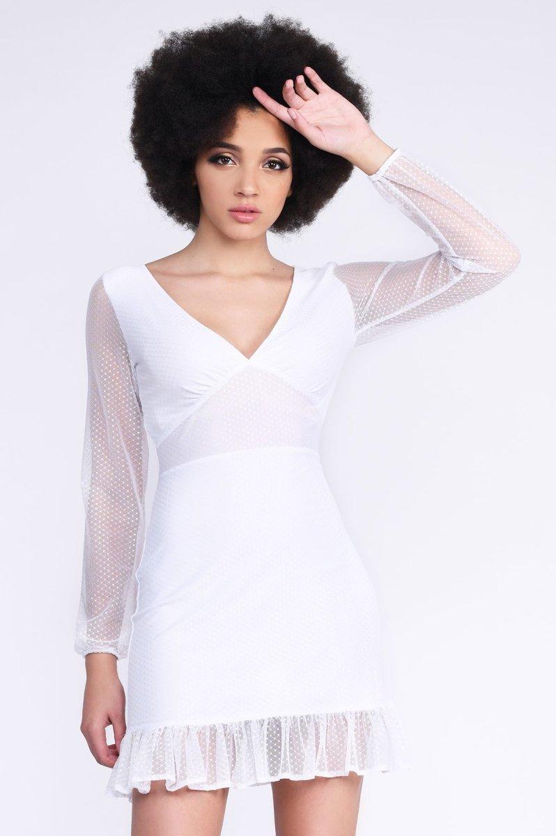 Трендовое женское платье KP-10237-3 белое