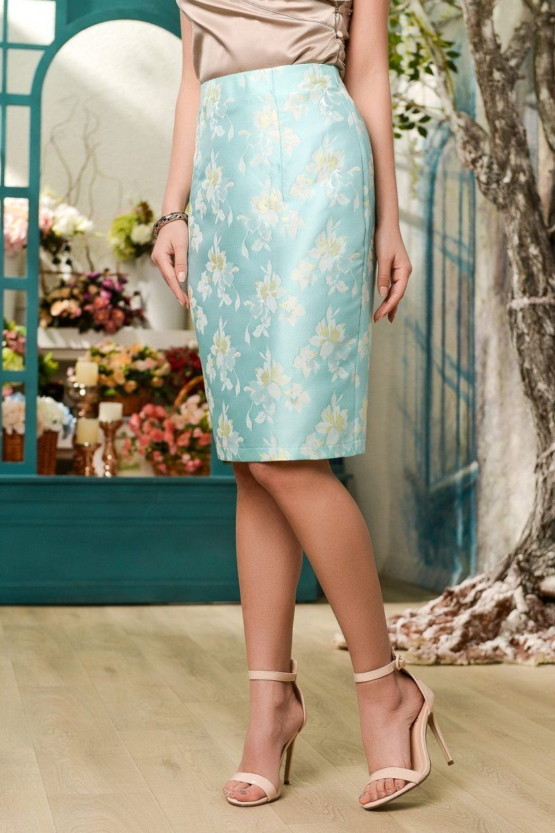 Элегантная юбка UB-3045-18 Бирюзовый