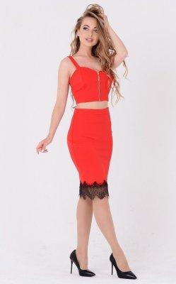 Эффектный комбинированный костюм 3648 красный