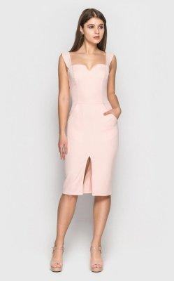 Элегантное платье-футляр 3888 (розовое)