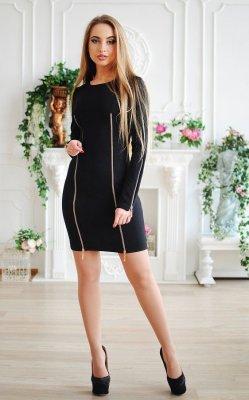 Элегантное платье со змейками чёрное