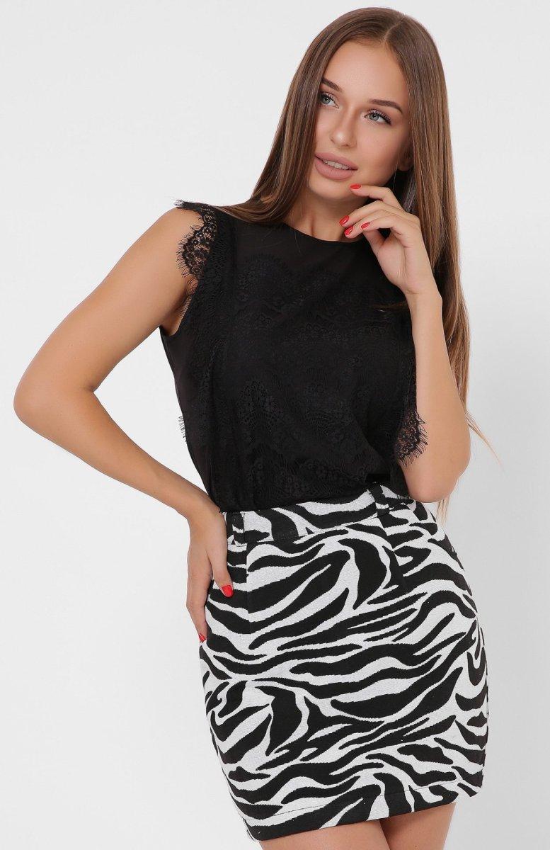 Модная женская мини-юбка 3257-5 Черно-белый