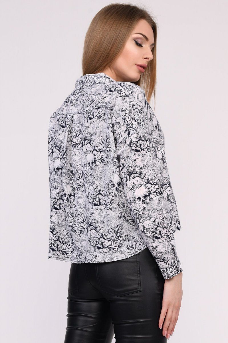 Блузка BK-7682-5 Белый-черный