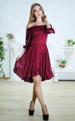 Гипюровое платье асимметрия бордовое