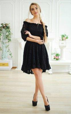 Гипюровое платье асимметрия чёрное