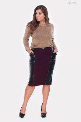 Элегантная юбка с поясом Тиба (бордовый)