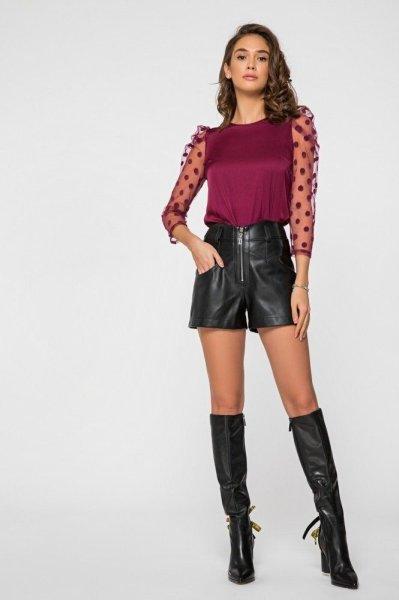 Шёлковая блуза 21190 сливовая