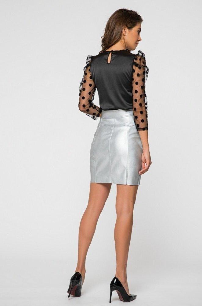 Шёлковая блуза 21191 чёрная