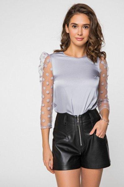 Шёлковая блуза 21192 серо-голубая