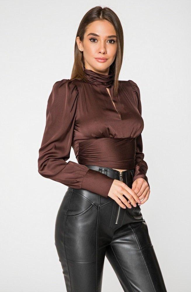 Блуза из шелка 21202 шоколадный
