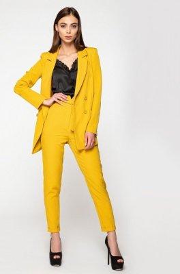 Модный брючный костюм 3035 горчица