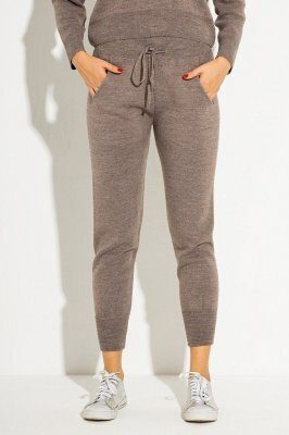 Вязаные брюки-джоггеры V4188 визон