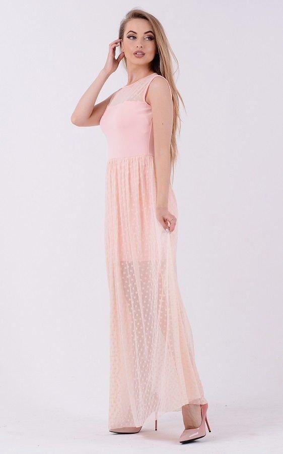 Изумительное платье горох 3684 розовый