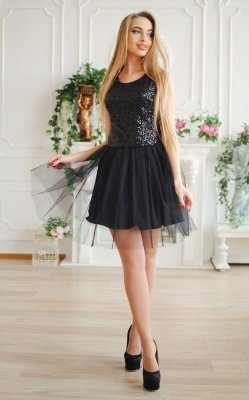 Коктейльное платье пайетки чёрное