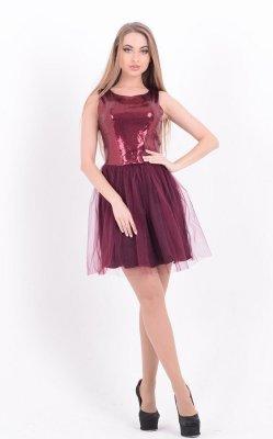 Коктейльное платье пайетки бордовое