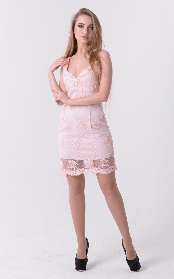 Коктейльное вышитое платье 3537 розовый