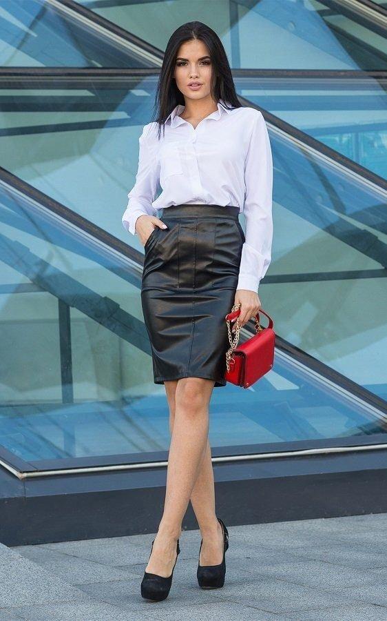 Кожаная юбка-карандаш чёрная