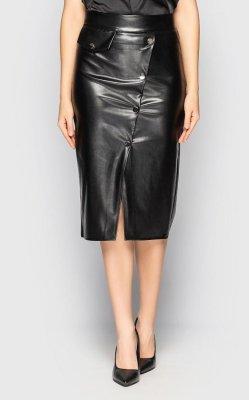 Кожаная юбка-карандаш 4088 чёрная