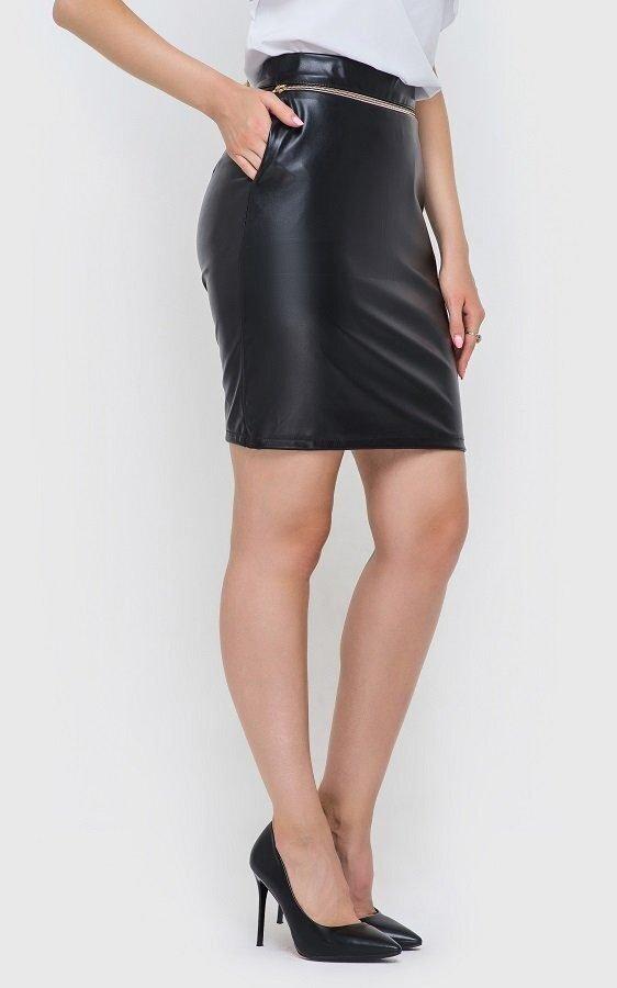 Кожаная юбка-мини чёрная