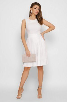Летнее платье плиссе 10338-3 белое