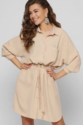 Дизайнерское бежевое платье 10351-10 Беж