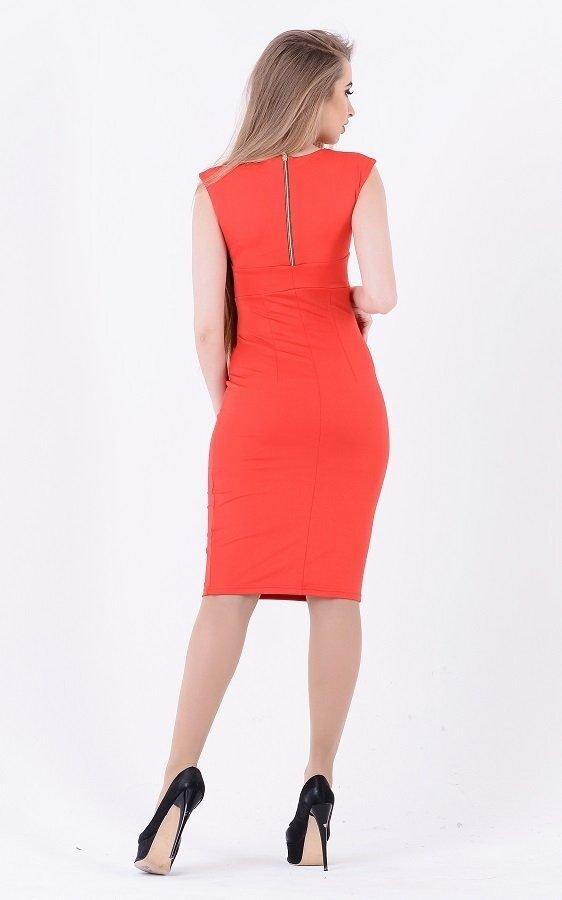Лаконичное облегающее платье 1701 (красное)