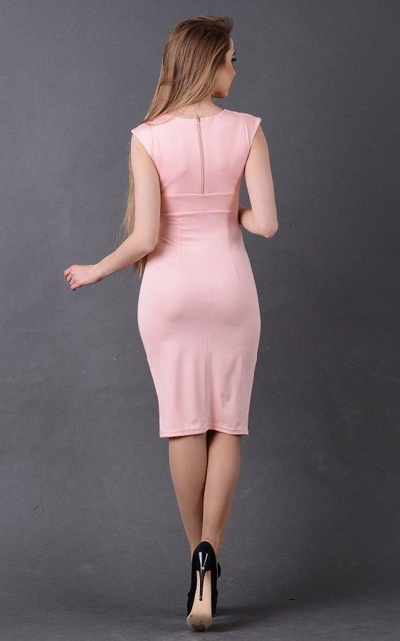 Лаконичное облегающее платье 1701 (розовое)