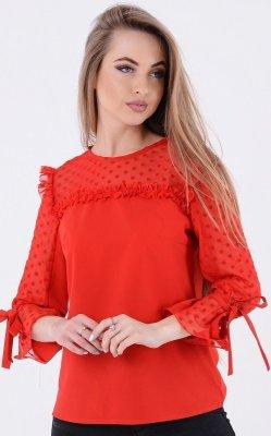 Легкая блузка рюши красная