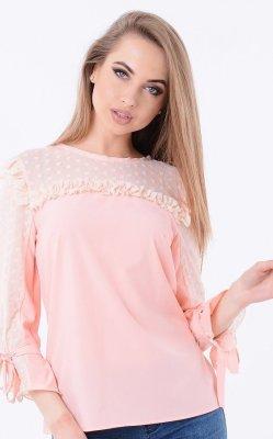 Легкая блузка рюши розовая