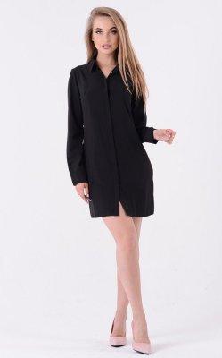 Легкое платье-рубашка 3335 (черная)