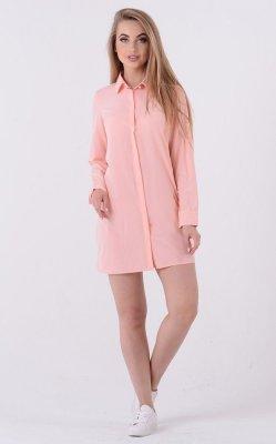 Легкое платье-рубашка 3335 (персиковое)