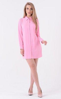 Легкое платье-рубашка 3335 (розовое)