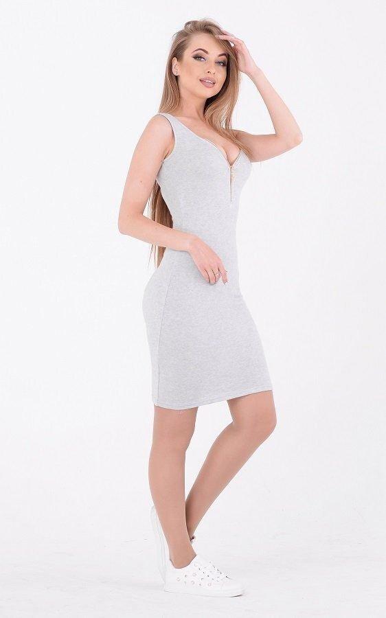 Летнее платье вязка 3650 серое