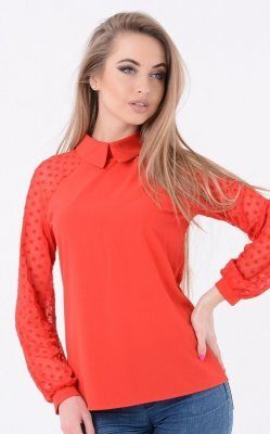 Модная блузка горох (красная)