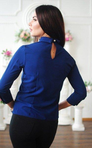 Модная короткая блузка (синяя)