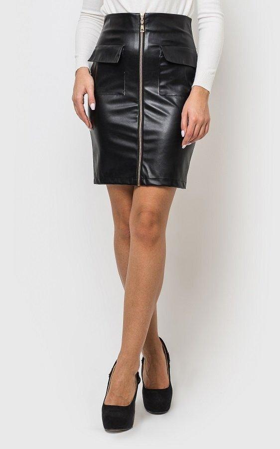 Модная кожаная юбка чёрная