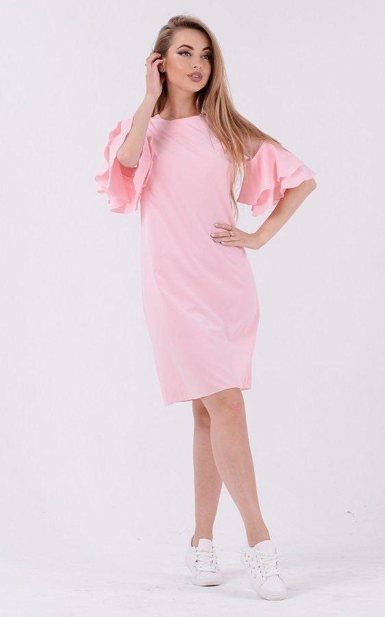 Монохромное платье волан 3683 розовый