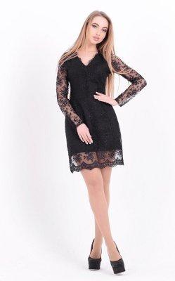 Нарядное вышитое платье (черное)