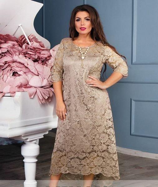 Романтичное кружевное платье 18-25 карамель