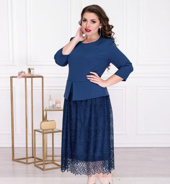 Элегантное платье с пышной юбкой 344 синее