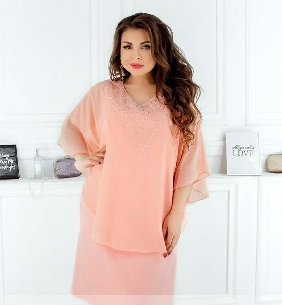 Платье с стразами 8612 персик