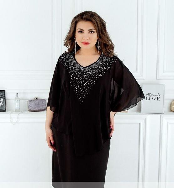 Платье с стразами 8612 черное