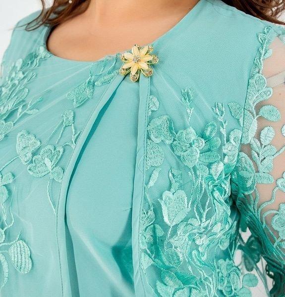 Нежное платье с гипюровой накидкой 362 бирюза