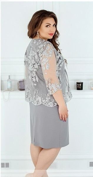 Нежное платье с гипюровой накидкой 362 серое
